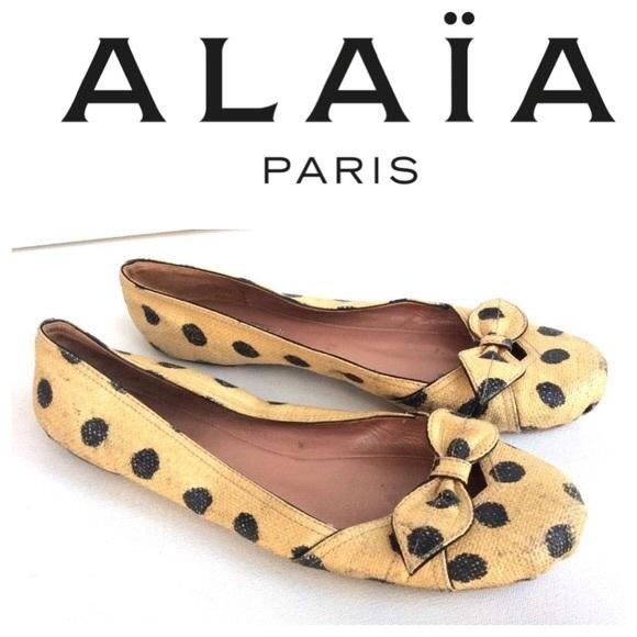 buy cheap best place latest online Alaïa Raffia Bow Flats discount hot sale big sale sale online GRcfFB9na